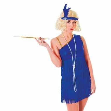 Blauwe feestverkleedverkleedjurkje voor dames