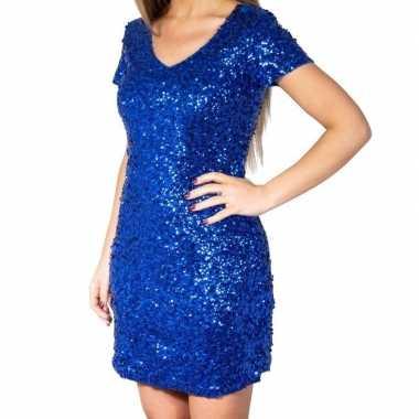 Blauwe glitter pailletten disco verkleedjurkje dames