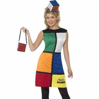 Carnaval rubiks verkleedjurkje dames