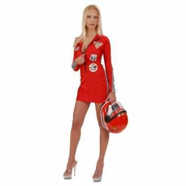 Dames autocoureur verkleedjurkje rood