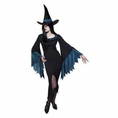 Dames heksen verkleedjurkje zwart met blauw
