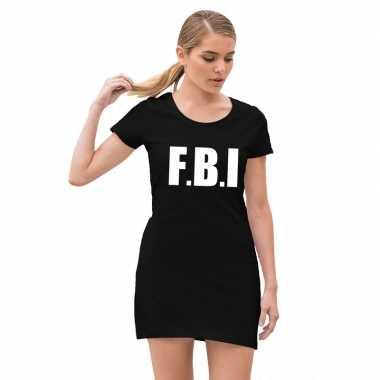 Fbi politie verkleed verkleedjurkje zwart voor dames