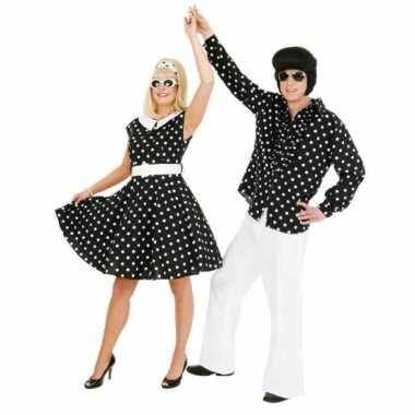 Fifties verkleedjurkje met polka dots zwart/wit