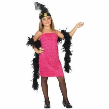 Flapper franje verkleed verkleedjurkje/verkleedjurkje roze voor meisj