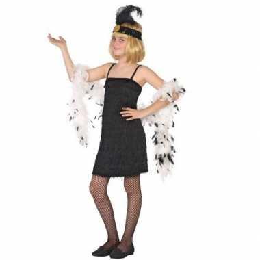Flapper franje verkleed verkleedjurkje/verkleedjurkje zwart voor meis