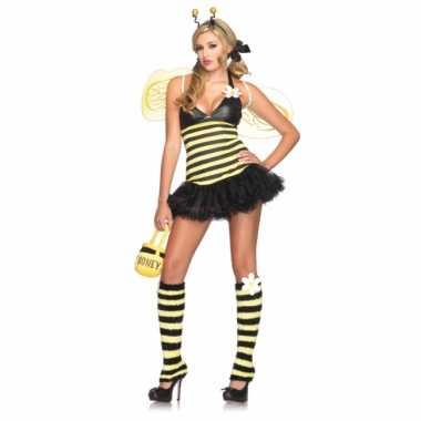 Geel zwart bijen verkleedjurkje voor dames