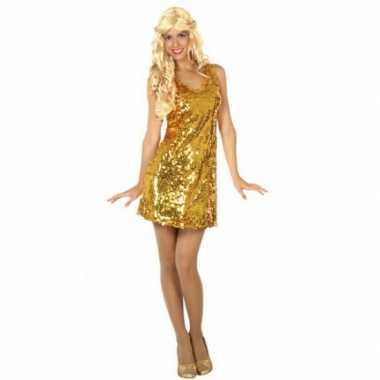 Gouden glitter verkleedverkleedjurkje voor dames