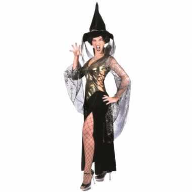 Halloween verkleedjurkje heks zwart/goud