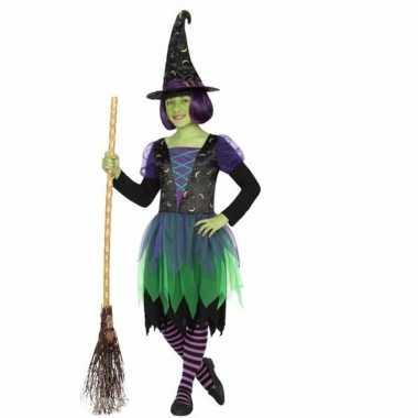 Halloween verkleedjurkje heksenjurk groen voor meiden