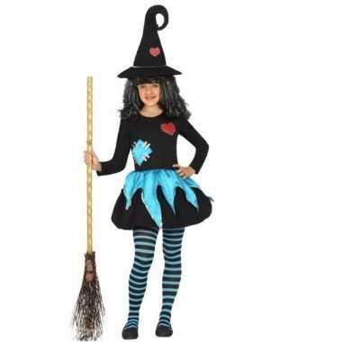 Heksen verkleedjurkje blauw met zwart voor meisjes