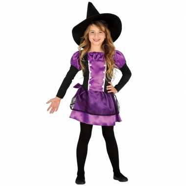 Meisjes heksenverkleedjurkje paars verkleedjurkje met strik