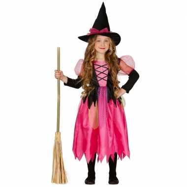 Meisjes heksenverkleedjurkje roze verkleedjurkje