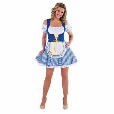 Oktoberfest verkleedjurkje blauw met wit
