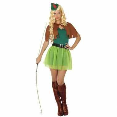 Robin hood verkleedjurkje groen/bruin voor dames
