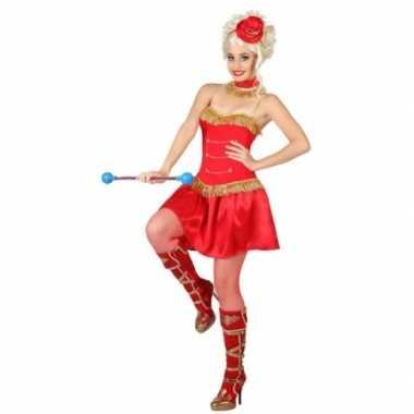 Rode majorette dames verkleedjurkje