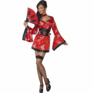 Rood japans verkleedjurkje met shotglas riem