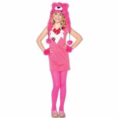 Roze beer verkleedjurkje voor kinderen
