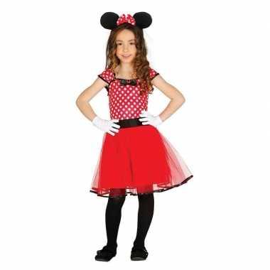Verkleed muizen verkleedjurkje rood met stippen voor meisjes