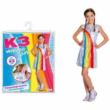 Wit k3 verkleedjurkje met regenboog