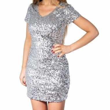 Zilveren glitter pailletten disco verkleedjurkje dames