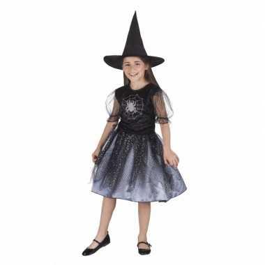 Zwart met grijs heksenverkleedjurkje voor meiden
