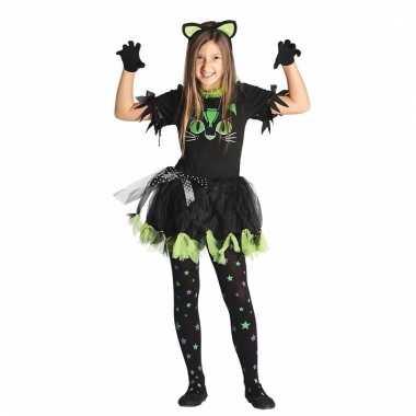 Zwarte poes/kat verkleedjurkje voor meisjes