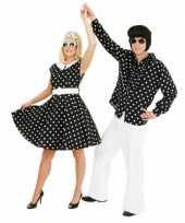 Fifties verkleedjurkje met polka dots zwart wit