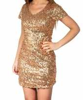 Gouden glitter pailletten disco verkleedjurkje dames