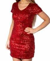 Rode glitter pailletten disco verkleedjurkje dames
