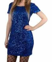 Toppers blauwe glitter pailletten disco verkleedjurkje one size voor dames